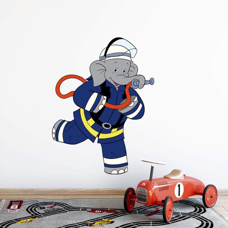 Muursticker Benjamin de Olifant als Brandweerman