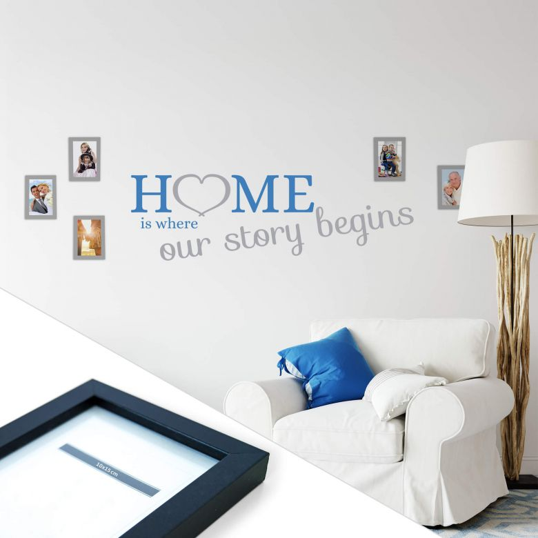 Sticker mural - Home is... (bicolore) incl. 5 cadres photos