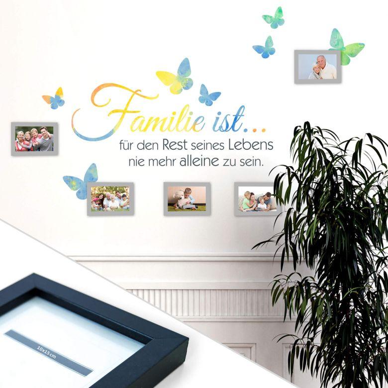 Wandtattoo Aquarell - Familie ist... inkl. 5 Bilderrahmen
