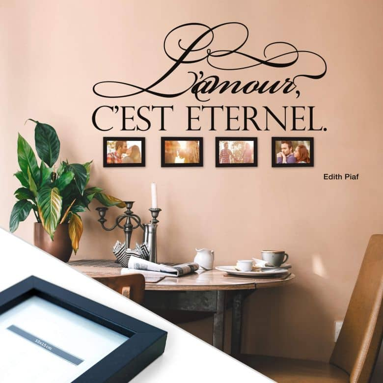 L'amour, c'est eternel Wall Sticker with 4 Picture Frames
