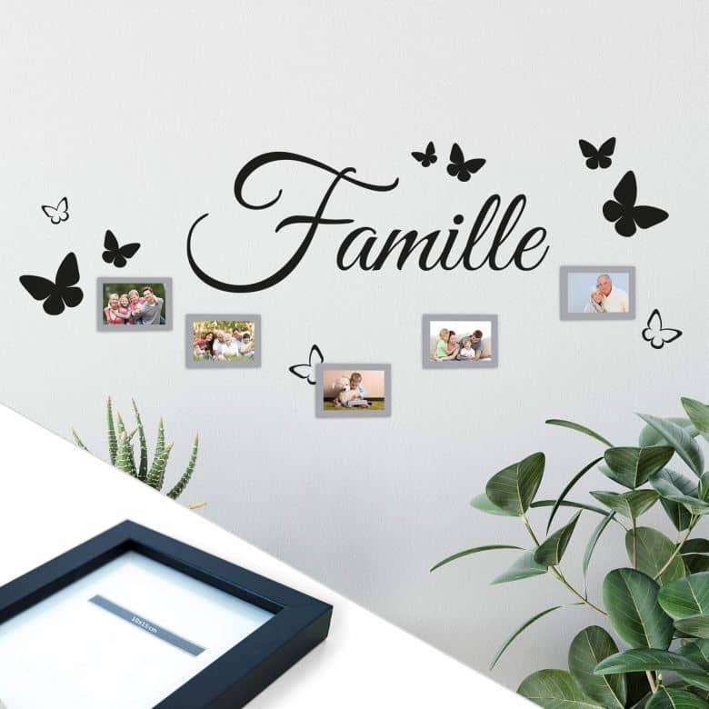 Adesivo murale Famille- incl. 5 cornici
