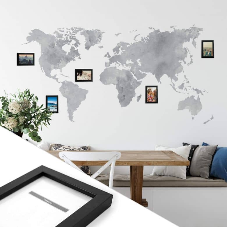 Wandtattoo Aquarell Weltkarte - grau inkl. 5 Bilderrahmen
