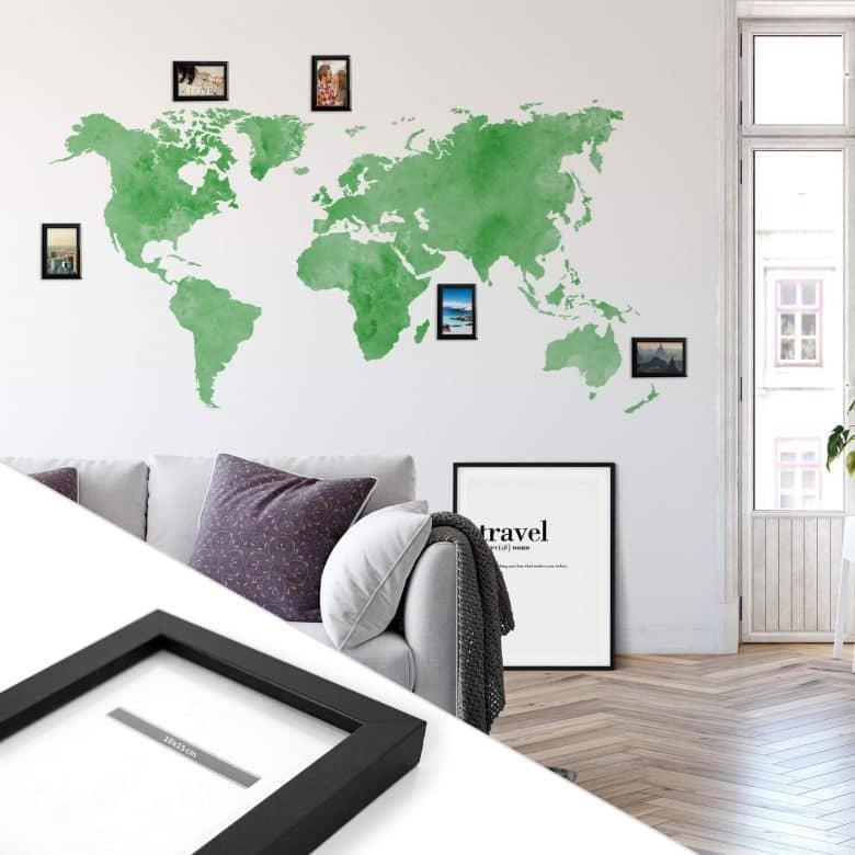 Adesivo Murale Mappamondo – verde con cornici