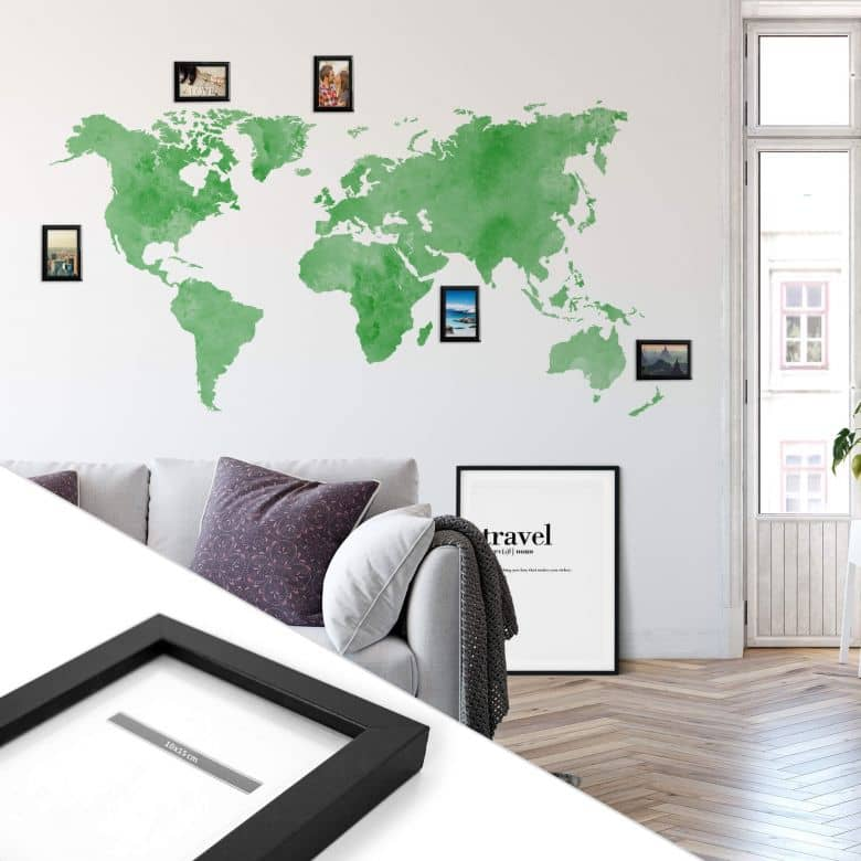 Wandtattoo Aquarell Weltkarte - grün inkl. 5 Bilderrahmen