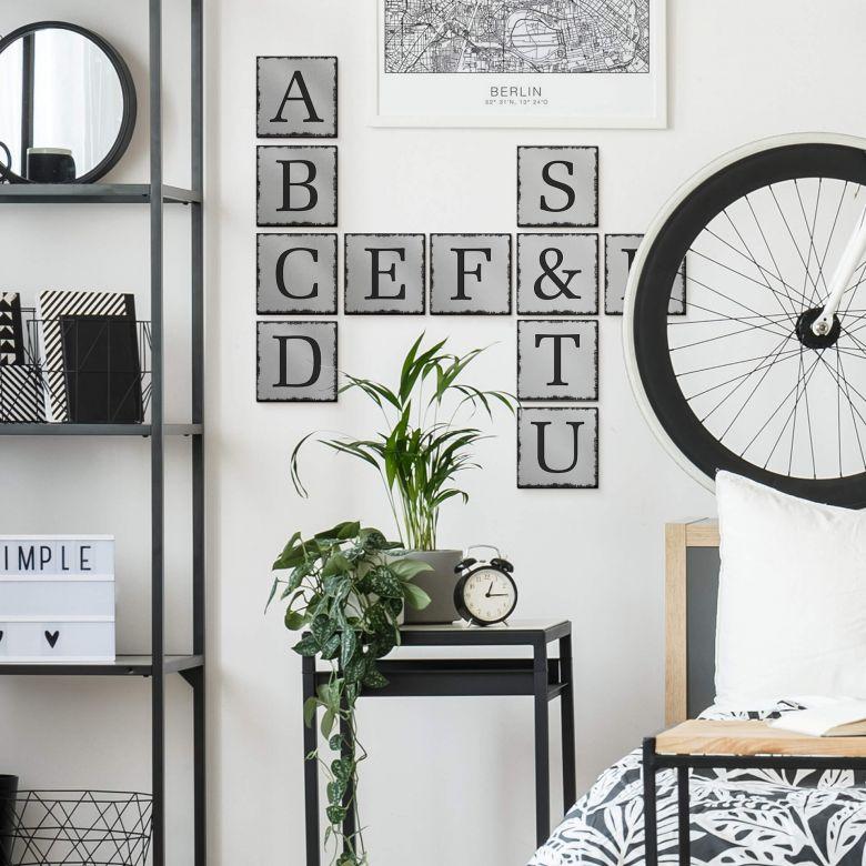 Lettres décoratives en alu-Dibond - Effet argenté- Shabby
