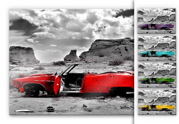 Acrylglasbild Roter Cadillac