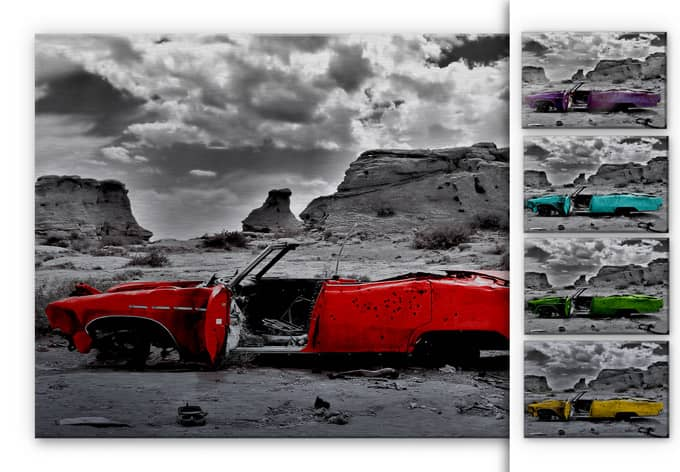 Red Cadillac Aluminium Print