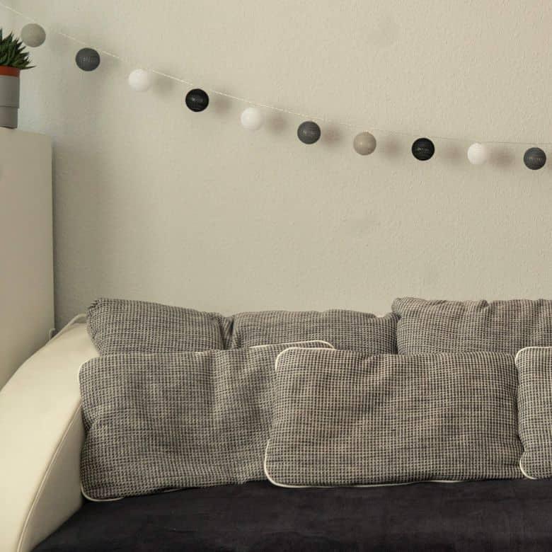 Cotton Ball Lights LED-Lichterkette schwarz grau 20-teilig