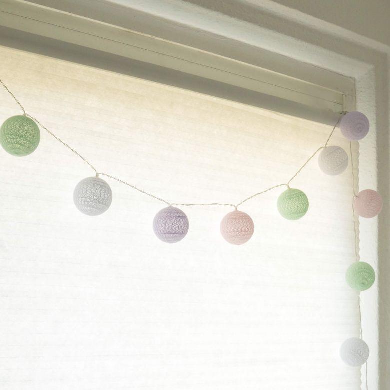 Cotton Ball Lights LED-Lichterkette Pastell 20-teilig