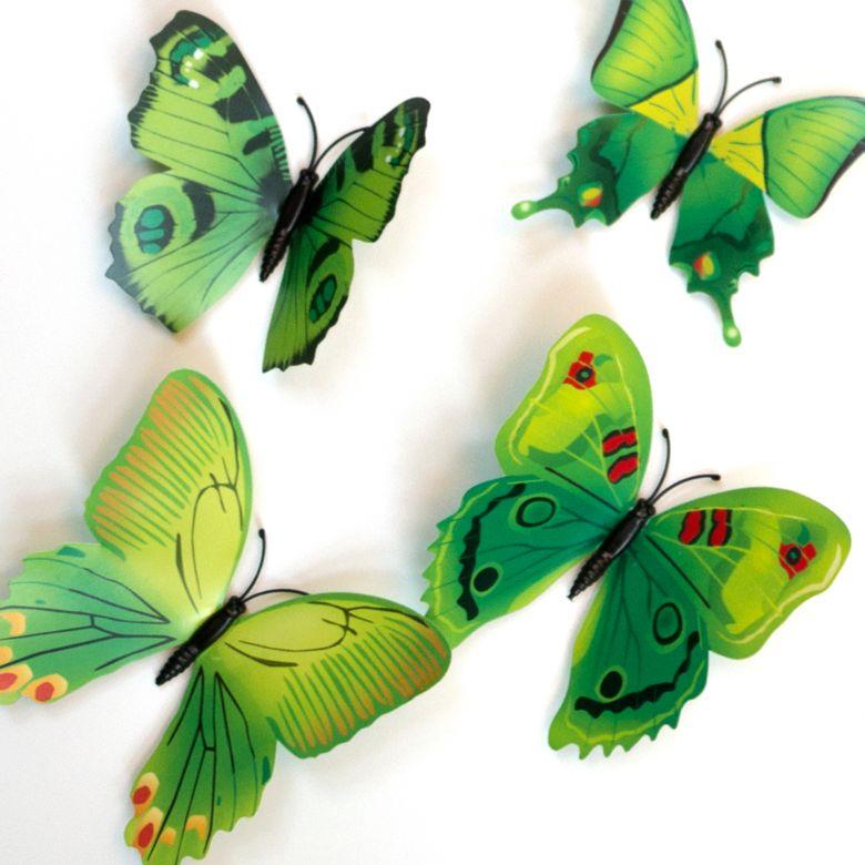 Set de Papillons 3D (12 pièces) - Coloris Vert
