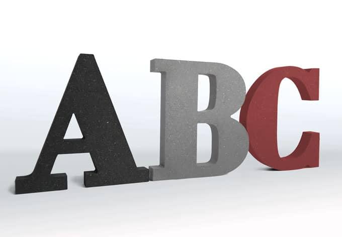 MDF-Holzbuchstaben - Schriftart Bodoni