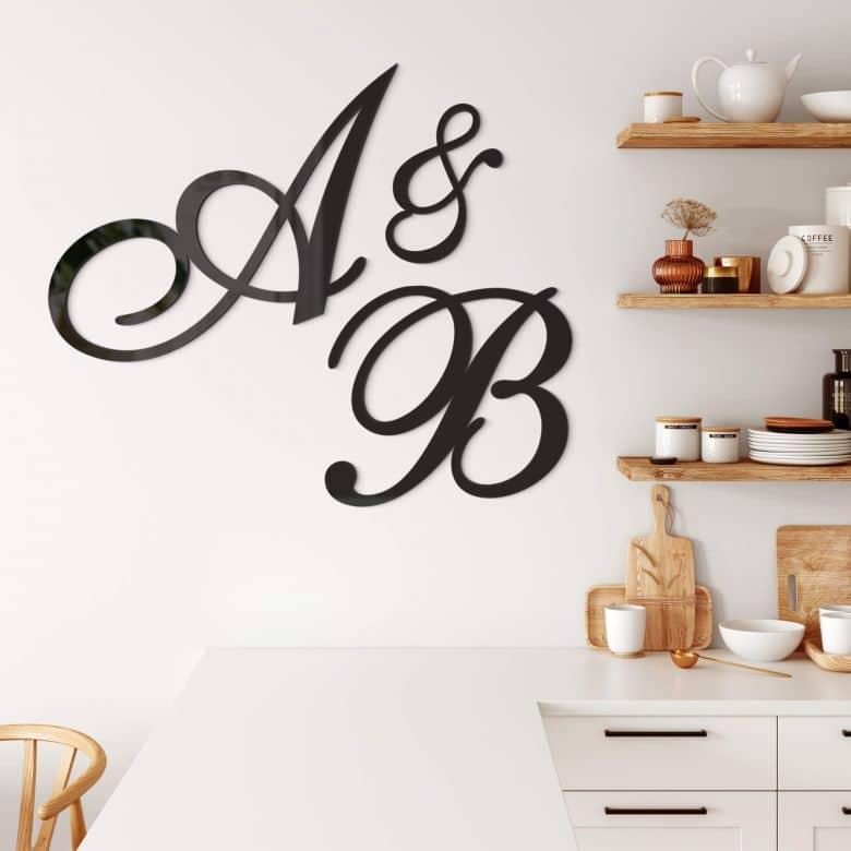 Lettres décoratives en verre acrylique - Cursive majuscule