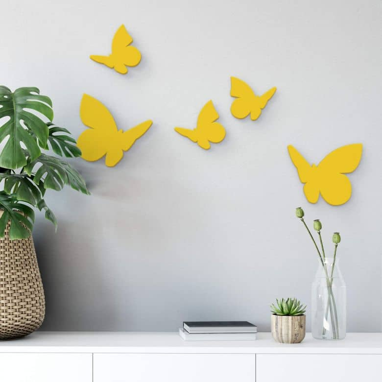 Dekobuchstaben 3D - Schmetterlinge Set (5-teilig)