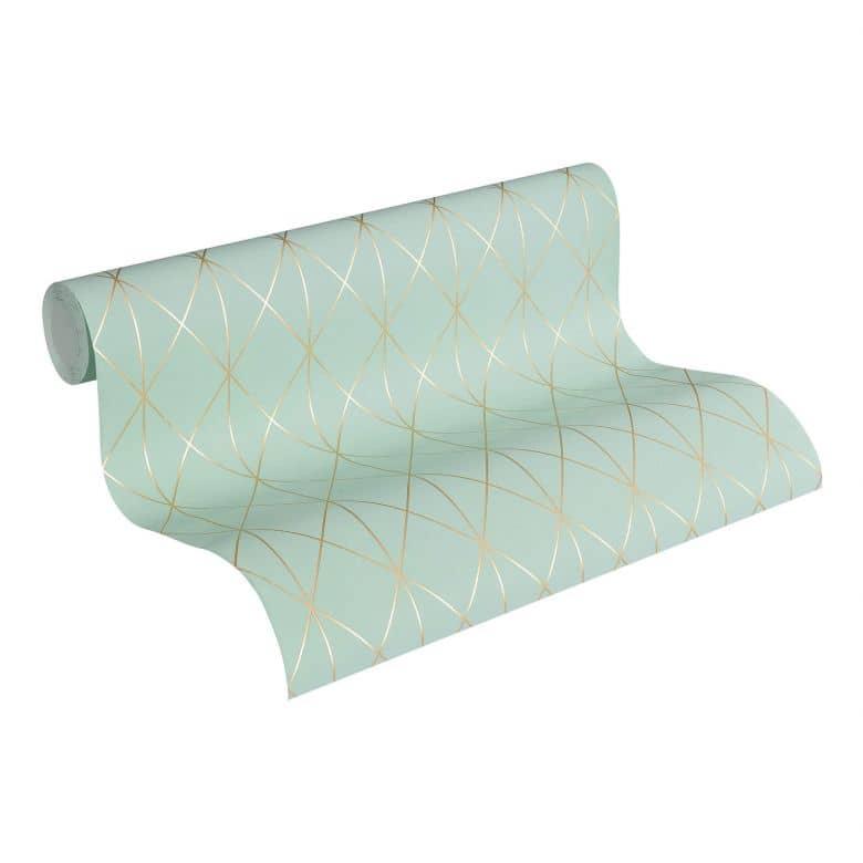 Designdschungel by Laura N. Vliestapete im skandinavischen Design matt glänzend metallic, blau, grün