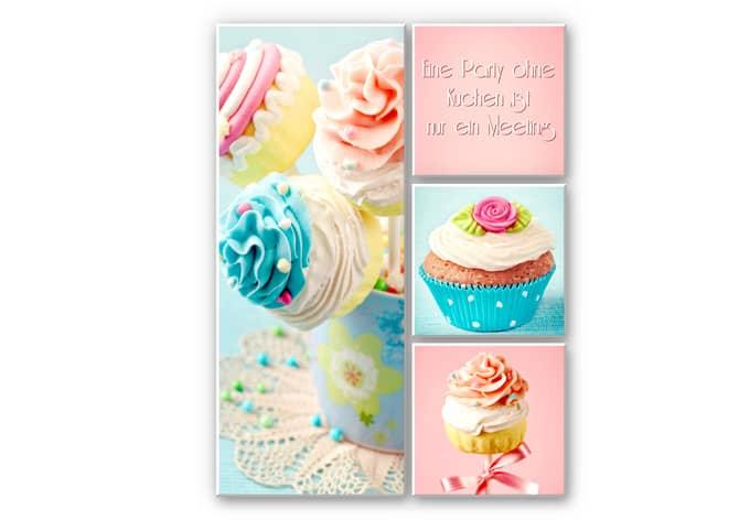 Wandbild Eine Party ohne Kuchen (4-teilig)