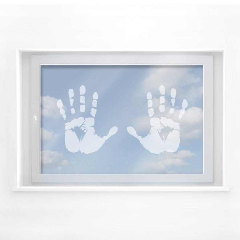 Frosted Glass - Handprints