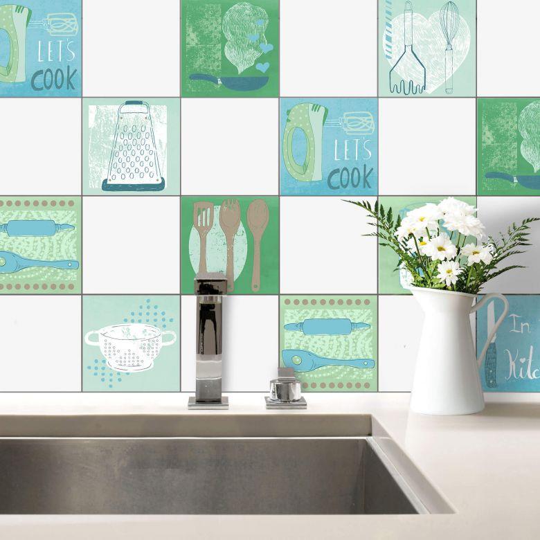 Adesivi per piastrelle loske in cucina wall for Adesivi x cucina