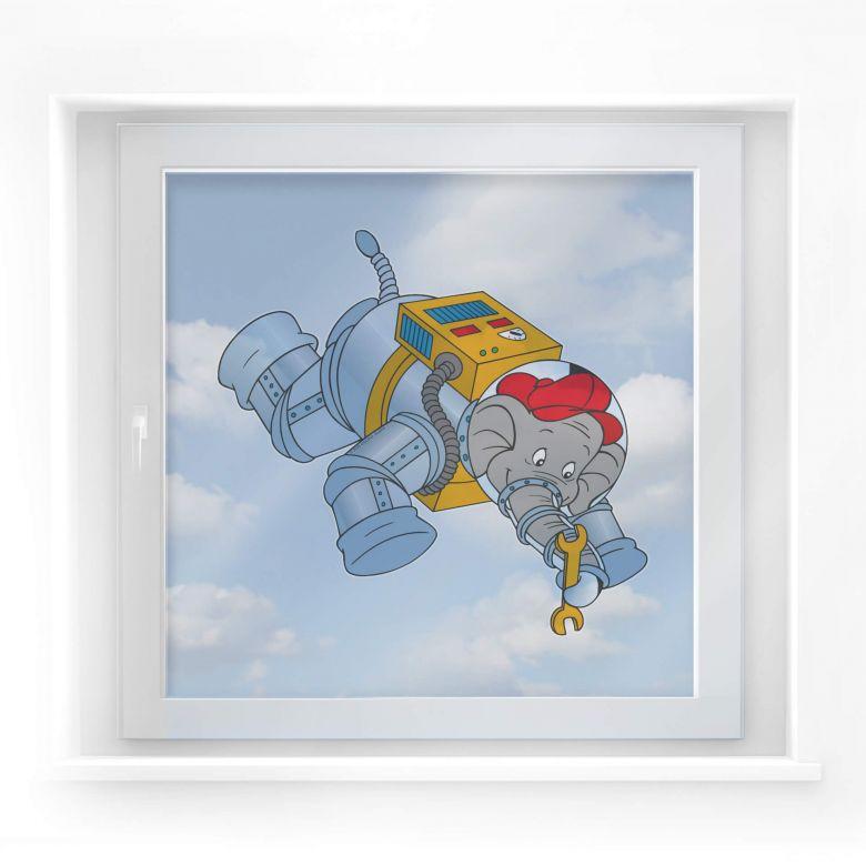 Fensterbild Benjamin Blümchen als Astronaut