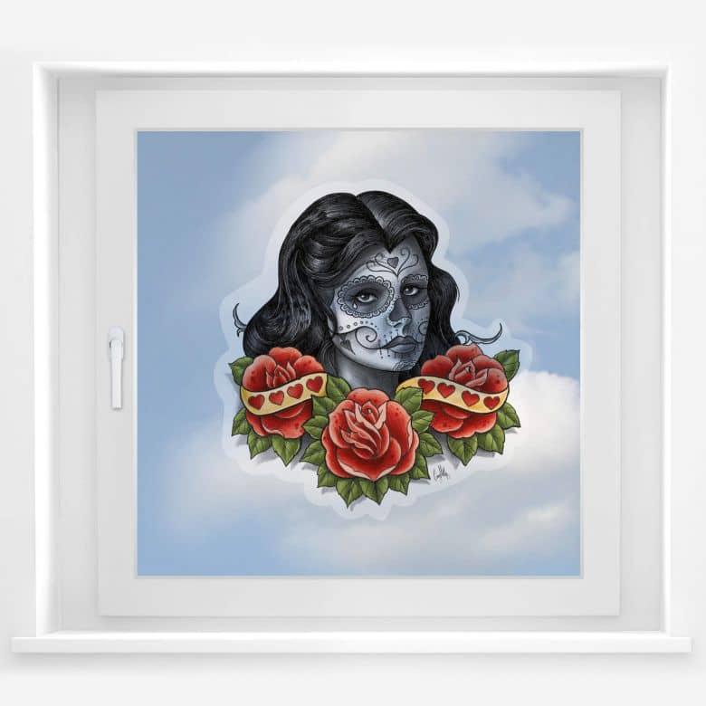 Fensterbild LA Ink Frau mit Sugar Skull