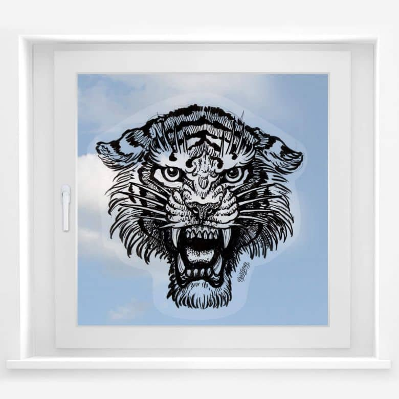 Fensterbild Miami Ink Tiger s/w