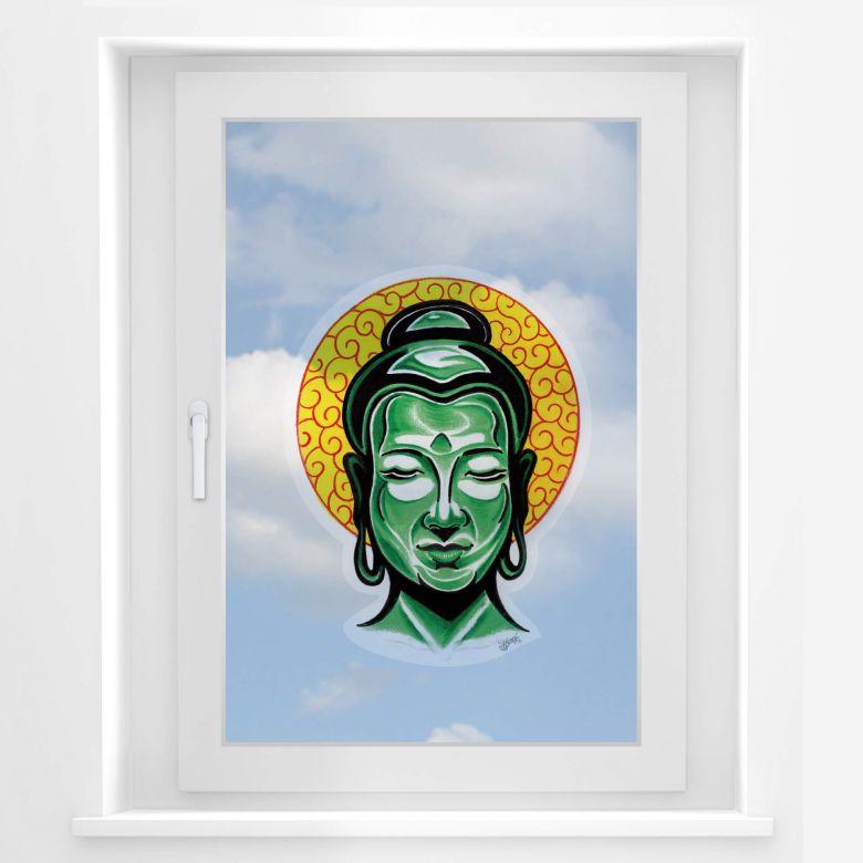 Fensterbild Miami Ink Buddha Kopf