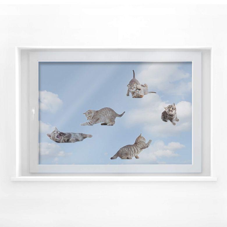 Fensterbild Real baby cats Set 01