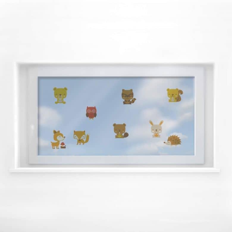 Fensterbild Waldtiere Set