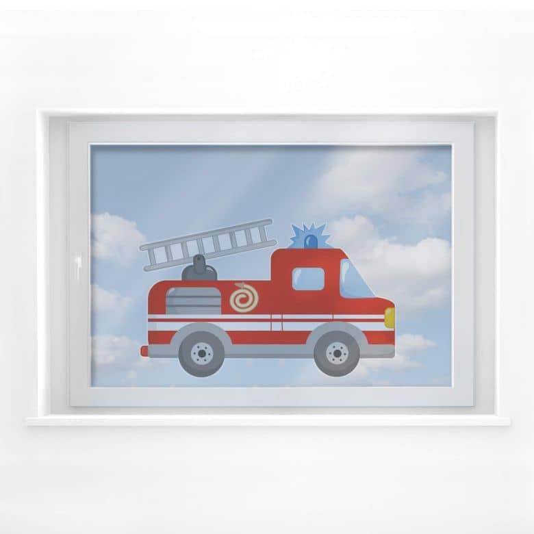 Fensterbild Feuerwehrauto