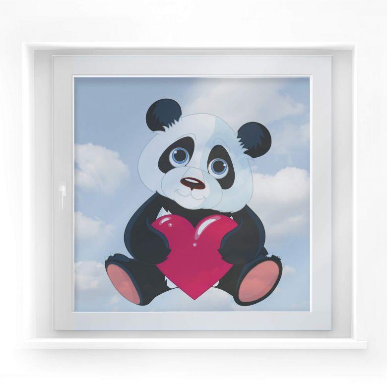 Fensterdekor Panda mit Herz