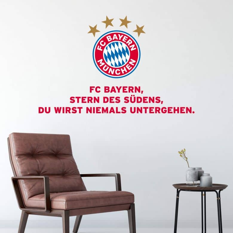 fc bayern vereinshymne fcb wandsticker wall. Black Bedroom Furniture Sets. Home Design Ideas
