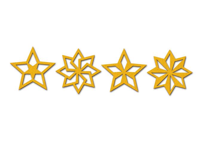 Baumschmuck Sterne Geo (4-teilig)