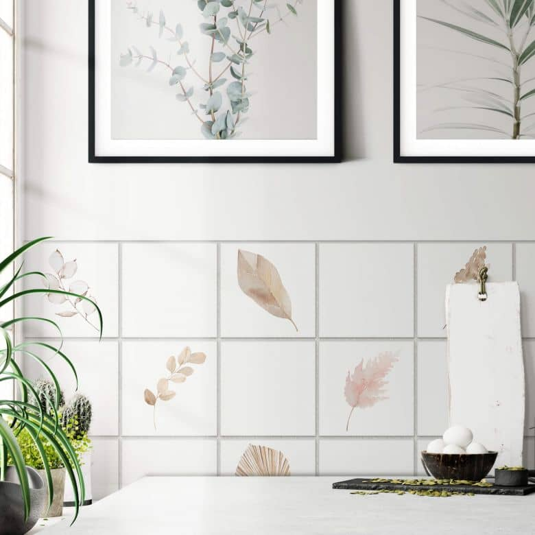 Sticker carrelage Feuilles aquarelles - Set de 12