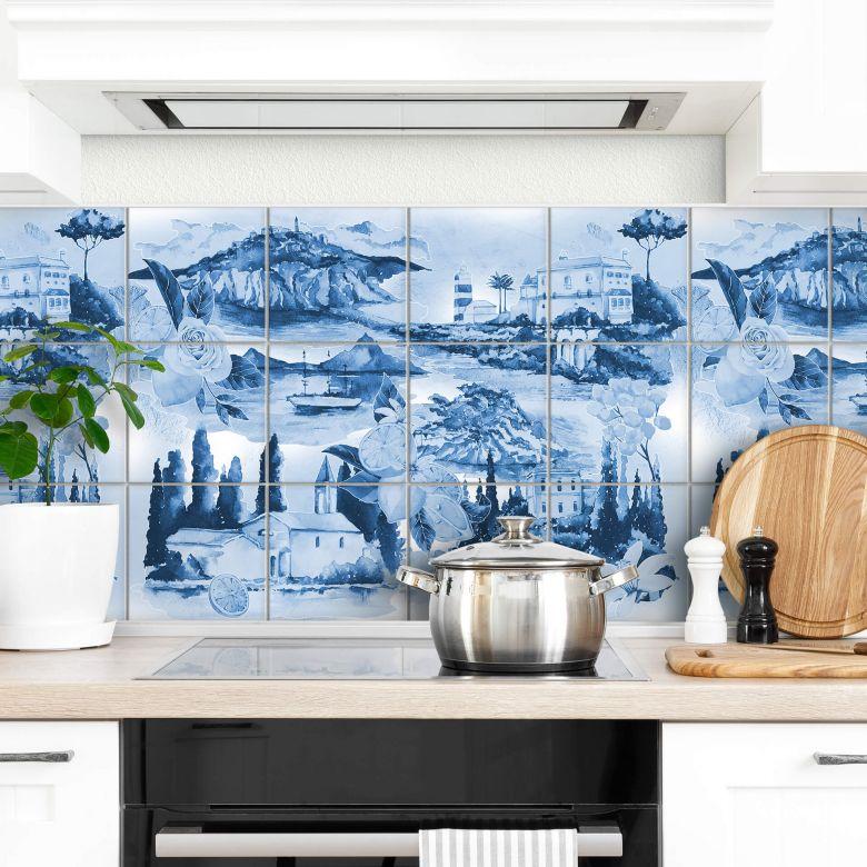 Sticker pour carrelage Paysages en bleu - Set de 12