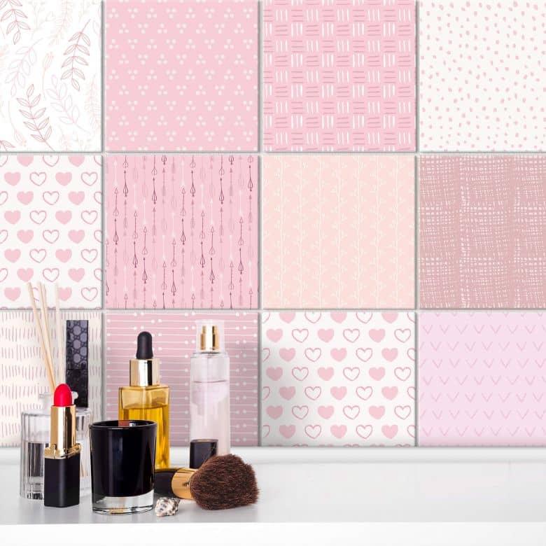 Stickers pour carrelage Rêve de fille - Rose - Set de 12