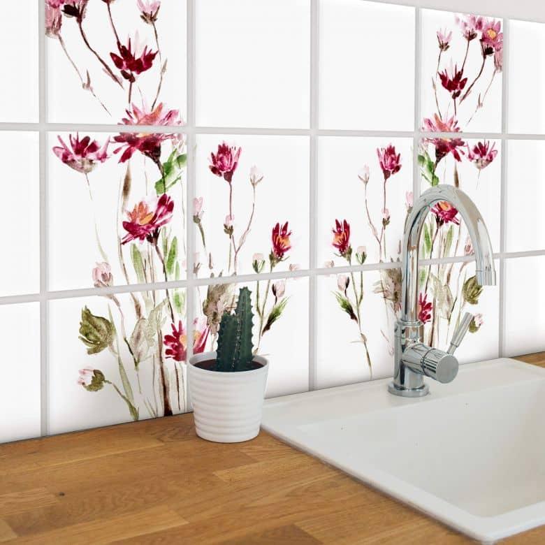Stickers pour carrelage Fleurs rouges - Set de 12