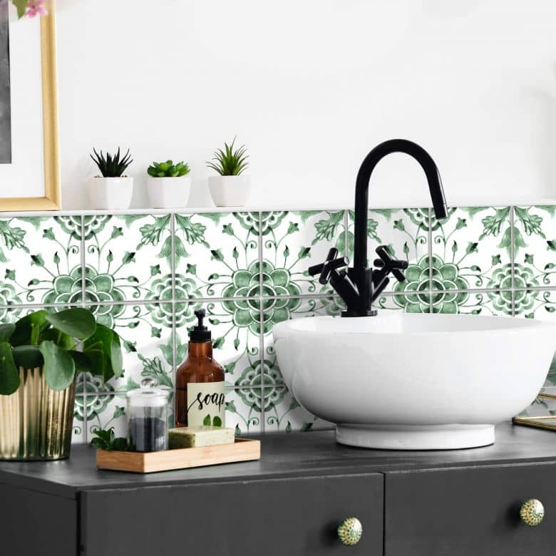 Sticker pour carrelage Aquarelles - Fleurs vertes - Set de 12