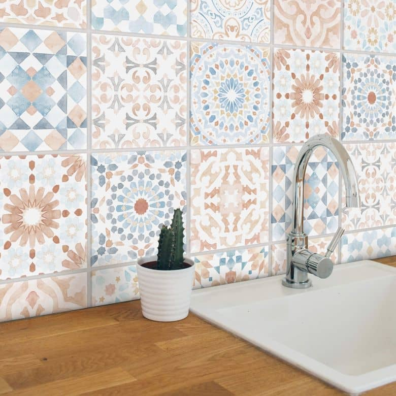 Fliesenaufkleber Watercolor Marokkanisch Muster - 12er Set
