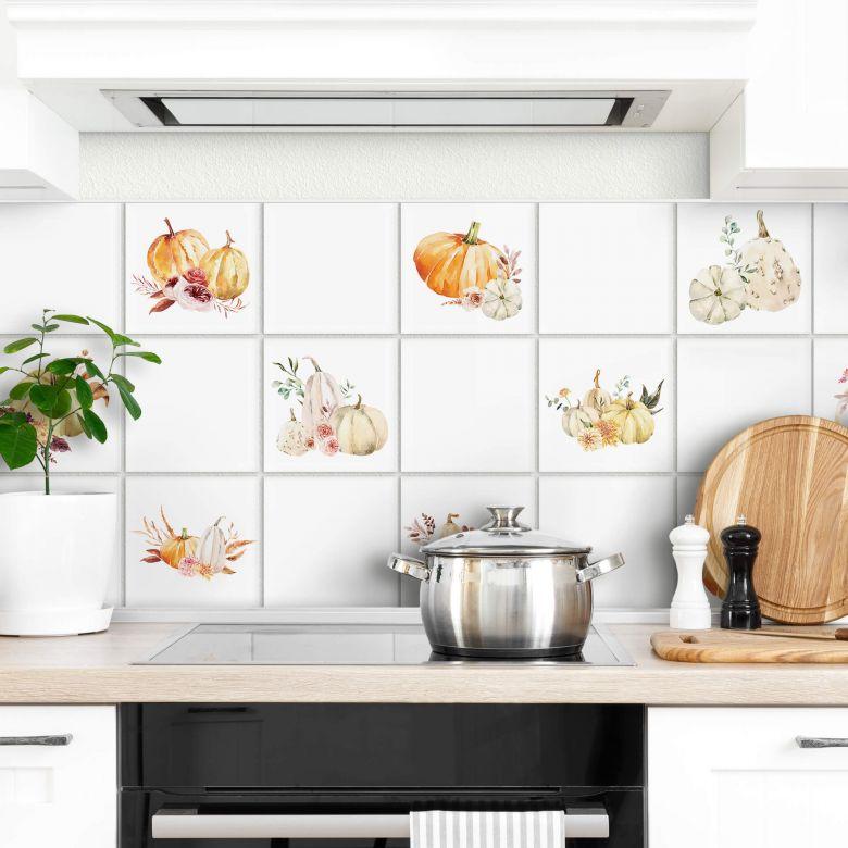 Sticker pour carrelage Aquarelle - Potiron et fleurs  - Set de 12