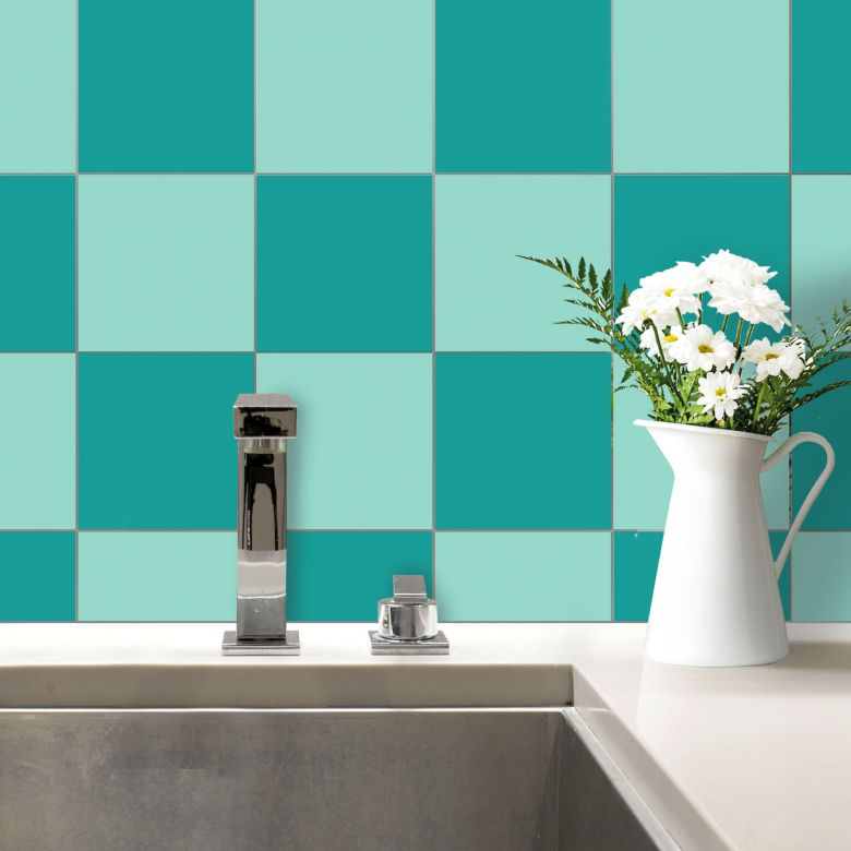 Adesivi per piastrelle tinta unita quadrato for Adesivi murali piastrelle cucina