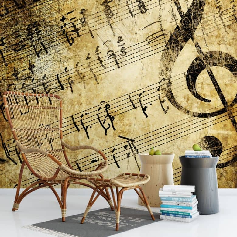 fototapete musik dekoidee f r musikliebhaber wall. Black Bedroom Furniture Sets. Home Design Ideas