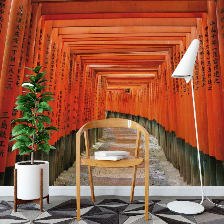 fototapete asiatischer garten unter japanischen toren wall. Black Bedroom Furniture Sets. Home Design Ideas