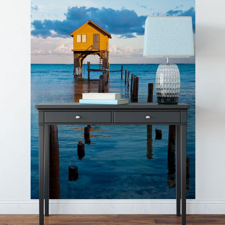 Fototapete Haus auf dem Meer - 144x260 cm