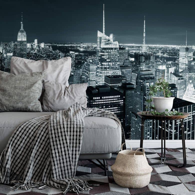 New York at Night 2 - Panorama - Photo Wallpaper