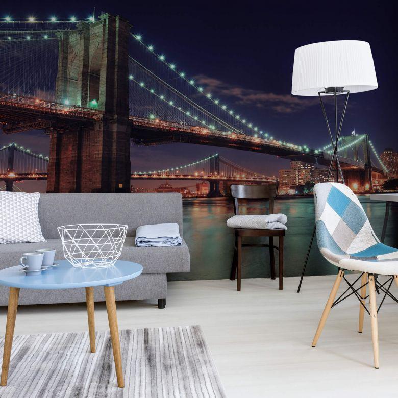 Fototapete Manhattan Bridge at Night 2 - 336x260 cm