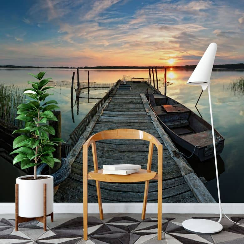 fototapete sunset at the lake romantisches feeling f r zuhause wall. Black Bedroom Furniture Sets. Home Design Ideas