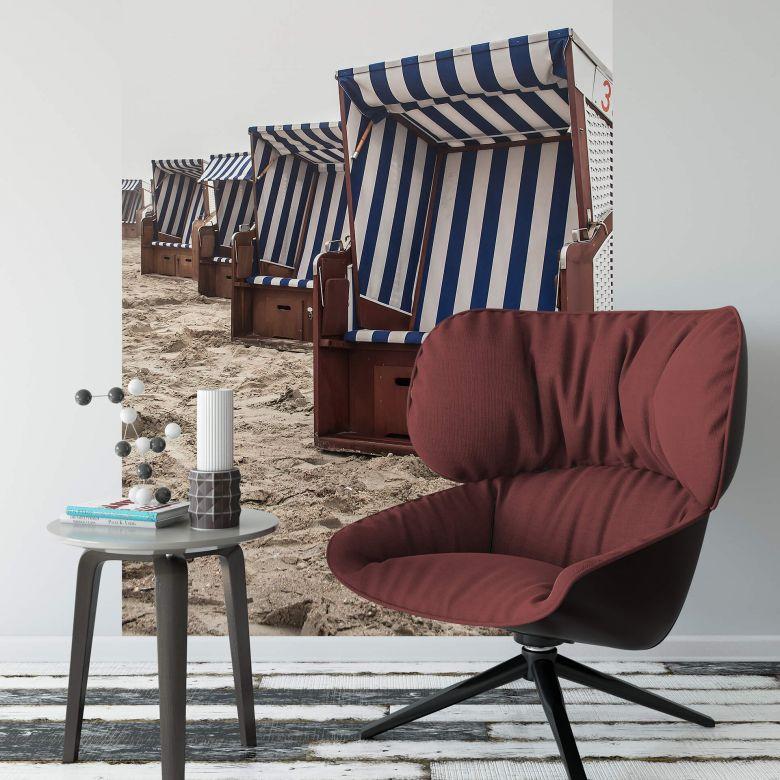 Fototapete Strandkorb auf Norderney - 144x260 cm