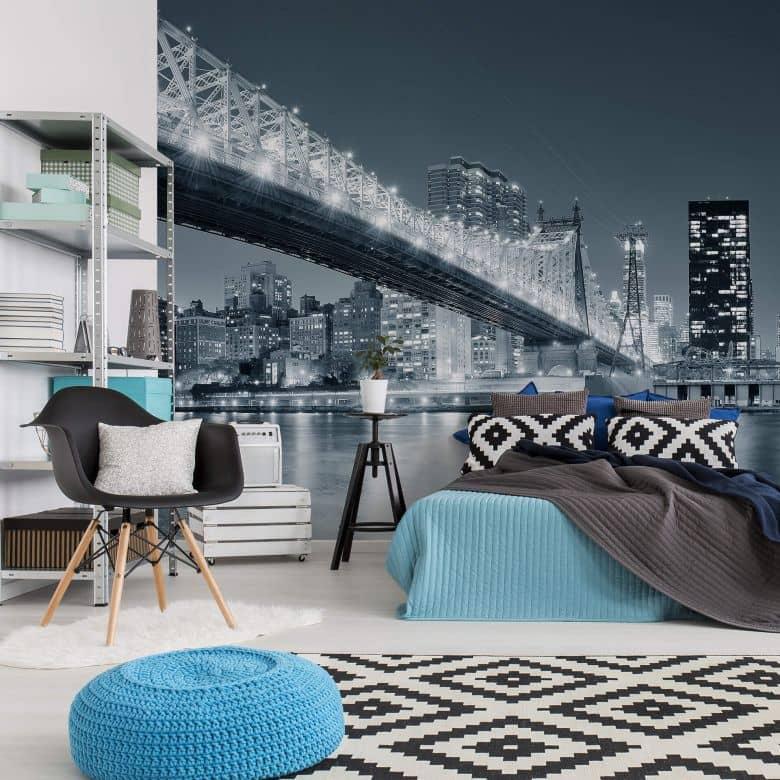 fototapete new york at night 3 metropole f r zuhause wall. Black Bedroom Furniture Sets. Home Design Ideas