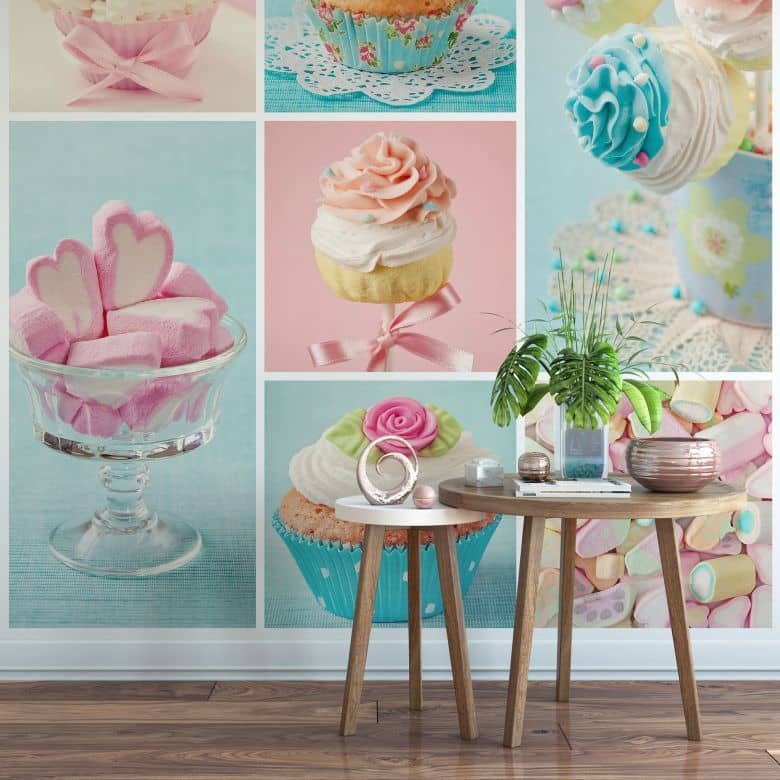 fototapete cupcake collage sch ne dekoration f r zuhause von k l wall art wall. Black Bedroom Furniture Sets. Home Design Ideas