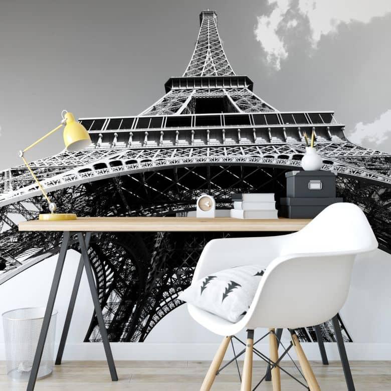 Fototapete Eiffelturm Perspektive schwarz/weiß