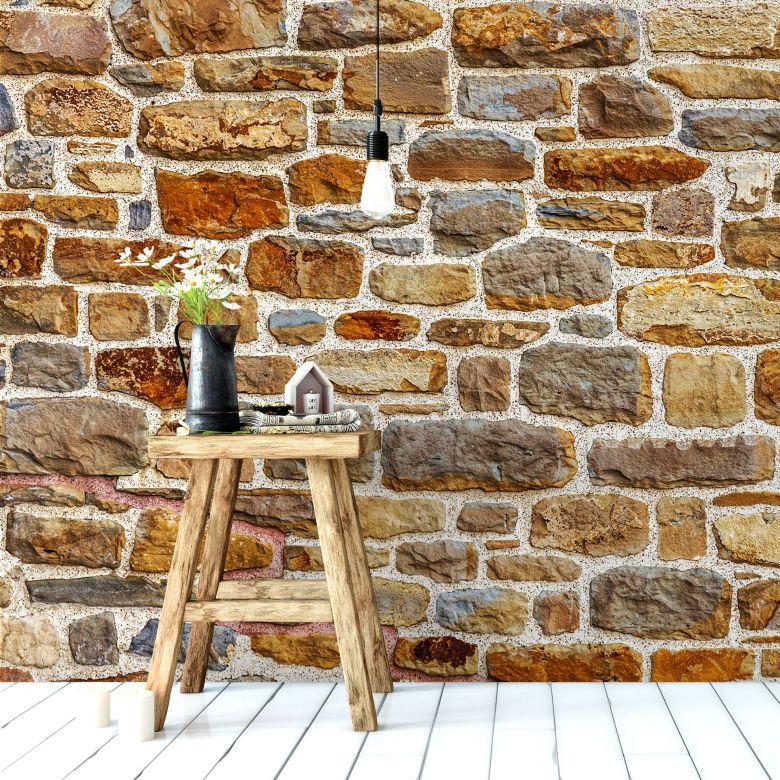 Fototapete Natursteinmauer 2 - 336x260 cm